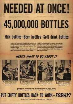 Needed At Once! 45,000,000 Bottles . From Duke Digital Collections. Collection: Ad*Access