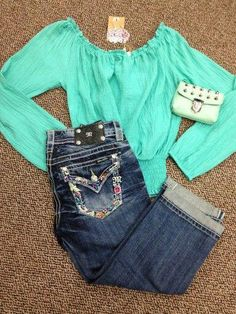 37c505fc Miss me Jeans & mint top♥ #silverhairlookthatIlike Mint Green Tops,  Mint Top
