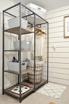 We love this wood & metal shelf with a hanging rod! Small Space Storage for the Laundry Room Simple Organized Cottage Farmhouse Makeover with affordable pieces from the Better Homes & Gardens line at Walmart Laundry Room Shelves, Laundry Room Remodel, Laundry Decor, Laundry Room Organization, Laundry Room Design, Laundry Closet, Laundry Room Small, Laundry Storage, Utility Room Storage