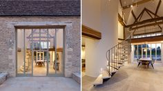 Peasburge Barn, another contemporary stone barn conversion in the Cotswolds by Clifton Interiors Barn Conversion Exterior, Barn House Conversion, Barn Conversions, Barn Windows, Converted Barn, Barn Renovation, Stone Barns, Barn House Plans, Barn Lighting