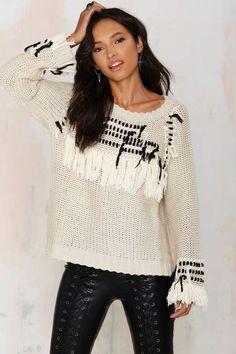 Knitz by For Love and Lemons Denver Fringe Sweater   Shop Clothes at Nasty Gal!