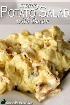 This delicious potato salad recipe is creamy, chunky, and zippy AND has bacon in it! Great for parties or your next pot luck!