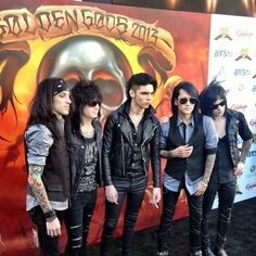 Black Veil Brides @ Golden Gods 2013 — can we just talk about Andys cigarettes?? They're always there<< CC looks like he's gonna sneeze