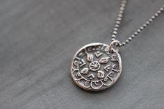 MANDALA COLLECTION:  Sterling Silver, Mandala, Pendant, Charm, Beaded Chain, Yoga, Zen, Meditation, Mossy Creek