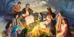 Israelite parents teaching their children to observe God's standards of holiness