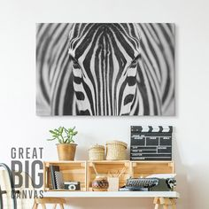 """Black and white art - """"Zebra"""" framed canvas art by Hesham Alhumaid from Great BIG Canvas."""