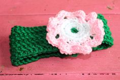Green Crochet 15 Year Old Ear Warmer with Pink by SisterHippies, $6.00
