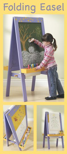 Let your child's creativity flourish with the Child's Play DIY Folding Easel Project! Projects For Kids, Diy For Kids, Diy Easel, Beginner Woodworking Projects, Flourish, Your Child, Playroom, Kid Stuff, Diy Ideas