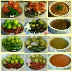 How to make 4 different salsas Mexicanas Authentic Mexican Recipes, Mexican Salsa Recipes, Mexican Dishes, Mexican Tamales, I Love Food, Good Food, Yummy Food, Salsa Picante, Tomatillo Salsa Verde