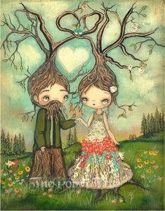 Amor impresiónamor pareja árboles osos pájaro por thepoppytree