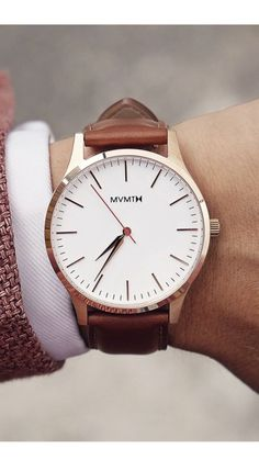 MVMT Watches 40 Series Rose Gold Natural Leather Brown Strap Mens Watch SALE