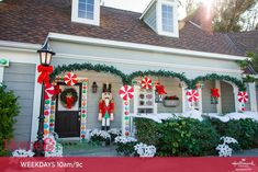 Paige Hemmis is making your house extra-festive this holiday season. Gingerbread Christmas Decor, Candy Land Christmas, Front Door Christmas Decorations, Gingerbread Decorations, Handmade Christmas Decorations, Christmas Porch, Christmas Lights, Christmas Holidays, Holiday Decorating