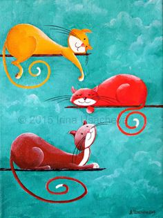 Original Cat Painting for Sale : Fantasy Cats by NaturelandsAndCo Cat Quilt, Cat Cards, Cat Colors, Cat Drawing, Whimsical Art, Fabric Painting, Paintings For Sale, Cool Cats, Animal Drawings
