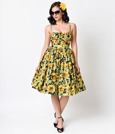 Bernie Dexter 1950s Style Yellow Sunflowers Paris Cotton Swing Dress