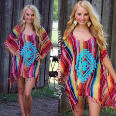 """https://instagram.com/ladycherokeeboutique RESTOCK OF OUR BEST SELLING PONCHO! Dancing in the Moonlight MINT TRIBAL PRINT MULTICOLOR SERAPE FRINGE PONCHO ✨Chandler is wearing S/M✨ Love, love, love this!  I wear mine over jeans or shorts.  Price: $38.00, Free Shipping  Qty:  9-S/M (fits size (2-18), 1-L/XL (fits size 2-3X) Please comment """"Sold"""", Size, State, and quantity needed, as well as your email to purchase. Also, you must let us know what state you live in, before we can invoice you…"""