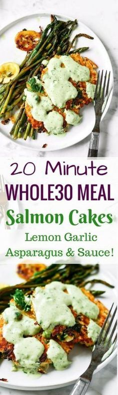 Zesty herb salmon burgers with lemon asparagus and tzatziki sauce! An easy and delicious meal that is ready in 20 minutes! Paleo, and a whole lot of fresh flavor. Easy dinner recipes paleo lunch whole 30 Whole 30 Meal Plan, Whole 30 Lunch, Whole 30 Diet, Paleo Whole 30, Whole30 Dinner Recipes, Paleo Dinner, Paleo Recipes, Cooking Recipes, Paleo Meals