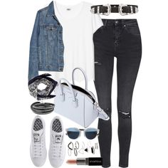 Outfit with grey jeans and a denim jacket by ferned on Polyvore featuring Proenza Schouler, Topshop, adidas, Givenchy, Valentino, B-Low the Belt, Christian Dior and Smashbox