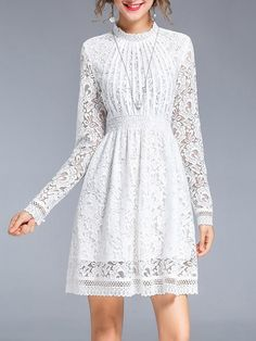 Shop Mini Dresses - White Lace Long Sleeve Stand Collar Mini Dress online. Discover unique designers fashion at StyleWe.com.