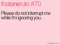 That One Rule ...