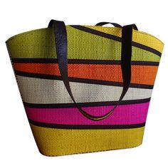 Bolsa de Praia em Palha Multicolor com Alça de Ombro