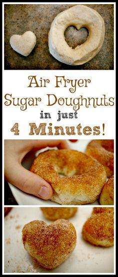 An Awesome 4-Minute Air Fryer Sugar Doughnut Recipe Air Fryer Doughnut Recipe, Sugar Doughnut Recipe, Donut Recipes, Cooking Recipes, Cooking Tips, Cooking Food, Healthy Recipes, Cheap Recipes, Cooking Classes