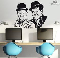 Vinilo decorativo inspirado en la famosa pareja de actores cómicos Stan Laurel y Oliver Hardy. Iniciaron su carrera en el cine mudo de los años 30 y son considerados como una de las mejores parejas cómicas del cine.