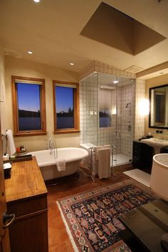 A taste of modern and rustic make this a very charming bathroom