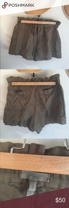 """Joie Khaki Linen Shorts Although tags removed, these cute shorts have never been worn. Zipper front with drawstring makes for adjustable waist size. Two front and two rear pockets.  Length from waist to bottom seam approx 13"""". Cute, cute, cute! Joie Shorts Skorts"""