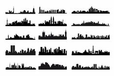City Skyline Landscape Silhouette Vector Set | Free Vector Graphics | All Free Web Resources for Designer - Web Design Hot!