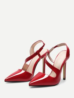 To find out about the Pointed Toe PU Pumps at SHEIN, part of our latest Heels ready to shop online today! High Heels For Prom, Prom Heels, Red High Heels, High Heels Stilettos, Stiletto Heels, Mens Fashion Shoes, Fashion Heels, Women's Fashion, Red Bridal Shoes
