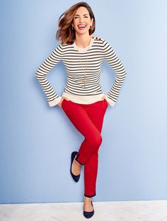 Subtle flare-cuff sleeves elevate the silhouette of a classic crewneck sweater. Anchor-embellished shoulder buttons and maritime-inspired stripes nod to nautical styling. | Talbots