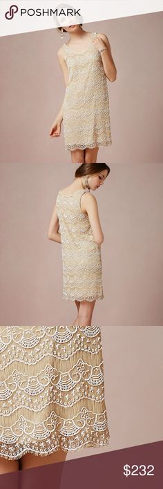 """NWT BHLDN Zelda Wedding/Cocktail Beaded Dress Never been worn beautiful beaded shift dress by BHLDN.  White beading on nude fringed sheer fabric over a nude shell.  Scalloped fringed bottom hem and button closure at back.  Beautiful detailing, would be prefect for a rehearsal dinner or bridal shower!  Style ##29587599 """"Zelda"""".  Tags still on, comes with original BHLDN garment bag. BHLDN Dresses Mini"""