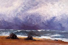 The Wave : Gustave Courbet : Realism : landscape - Oil Painting Reproductions No Wave, Canvas Art Prints, Oil On Canvas, Gustave Courbet, French Paintings, France, Art World, Traditional Art, Landscape Paintings