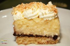 coconut cream pie (and chocolate) bars - A crunchy shortbread crust is the perfect base for these coconut cream pie bars. With a layer of chocolate ganache in between, these bars will quickly become your favorite dessert. Chocolate Bar Recipe, Chocolate Pies, Chocolate Ganache, Coconut Chocolate, Chocolate Cream, Just Desserts, Delicious Desserts, Dessert Recipes, Dessert Ideas