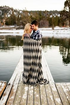 Big Bear winter engagement photos, lake, dock, couple