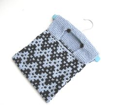 Cotton Peg Bag , hand knitted in navy and light blue chevrons , half price sale £15.00