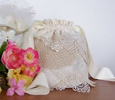 Wedding Dollar Dance Money Dance Bag from vintage handkerchiefs reception cosmetic bag by GreenbriarCreations on Etsy