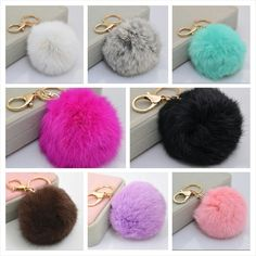 Fur pom pom keychain/purse charms available at www.urbandoll.bigcartel.com