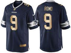 Dallas Cowboys #9 Tony Romo Navy Blue 2016 Christmas Gold Edition Jersey