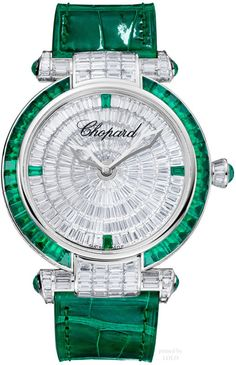Chopard emerald and diamond watch Cartier, Cool Watches, Watches For Men, Ladies Watches, Ring Armband, Swiss Army Watches, Expensive Watches, Affordable Watches, Seiko Watches