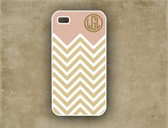 Monogrammed iPhone case -  Soft pink and golden chevron - personalized Iphone 4/5 case (9875). $16.99, via Etsy.