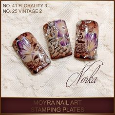 Nail art with Moyra stamping plates No. 41 Florality 3 and No. 25 Vintage 2. Products used: Moyra SuperShine colour gels: snow, caffé latte, brownie, ultraviolet, sunshine, Mijello for Moyra Watercolours, gold Magic Foil, Moyra stamping nail polish SP 13 brown, pearls.  #moyra#supershine#moyragels#florality3#flowers#butterfly#stamping#stampingplate#vintage#stampingpolish#brown#nailart#naildesign#naildecoration#norkanaildesign#mijello#watercolours