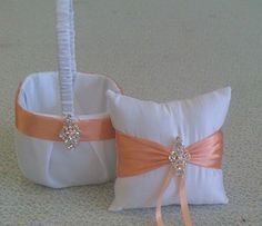 White and Coral  Flower girl basket and pillow