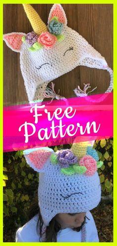 crochet pattern unicorn hat with flowers