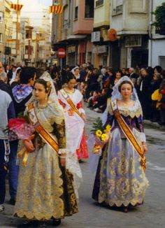 Falleras in the Valencia Region in Fallas. Traditional Spanish Holidays.