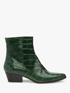 Bennett Choral Croc Effect Leather Cowboy Ankle Boots, Forest Wardrobe Solutions, High Street Brands, Leather Material, Low Heels, Crocs, Leather Shoes, Cowboy Boots, Kitten Heels, Ankle Boots