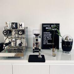 Coffee Nook, Coffee Bar Home, Home Coffee Stations, Coffee Carts, Coffee Corner, Rocket Coffee, Home Espresso Machine, Kitchen Organization Pantry, Beach Theme Bathroom