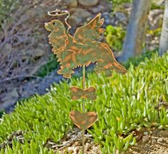 Spaniel King Charles Cavalier Stake / Pet Memorial / Copper Art / Metal Garden Art / Angel Decoration / Dog Memorial / Pet Lover / Patina