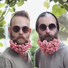 Stunning bouquet: The guys threw on sunglasses to show off their beautiful pink rose covered beards
