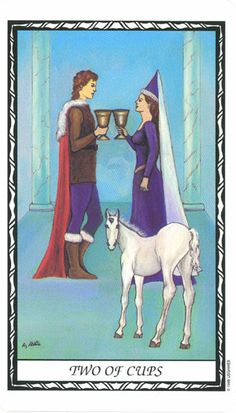 2 of Cups--Unicorn Tarot